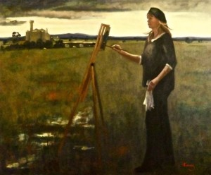 ARTIST AT WORK {Self portrait painting the Moolort plains - Oil on canvas - Private collection