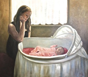 THE YOUNG MOTHER - Oil on canvas Selected for the event Roma Imperial International Prize, Piazzo del Popolo, Rome Italy May '15 Also Representation at Carousel Du Paris, France, June 2015