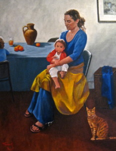 MOTHER LOVE - Oil on canvas - Artist for Unicef exhibition - Italy