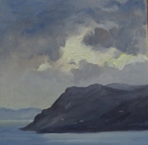 BEFORE THE STORM, SKOPELOS, GREECE - Oil on Panel - 21.59cm x 21.59cm