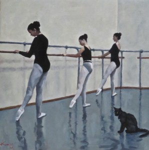 THE BLACK CAT BALLET SCHOOL - oil on canvas - 35.56 cm x 35.56 cm - Painted for an auction in London to aid the C.A.L.F. animal sanctuary, Whitby, UK. Dec 2016